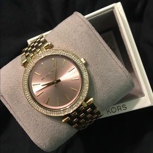 Michael Kors Darci Gold/Rose Gold Tone Watch